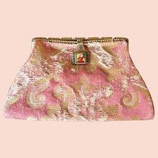 Vintage Exotic Asian Enamel Plaque Frame Silk Brocade Purse Clutch