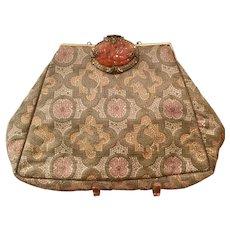 Vintage Silk Brocade C. 1930's Carnelian Clasp Purse