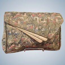 Vintage Exotic French Brocade Silk Clutch Bag Purse