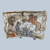 Vintage Asian Embroidered Silk Purse Beaded and Enamel Frame