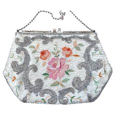 Vintage  Hand Beaded Embroidered Josef France Purse