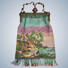 Gorgeous Antique Jeweled Micro Beaded Scenic Purse Amazing Frame