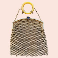 Fabulous Gold Tone Mesh Purse Jeweled Bracelet Handle