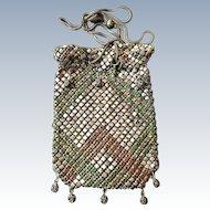 Vintage French Rhinestone Metal Mesh Purse
