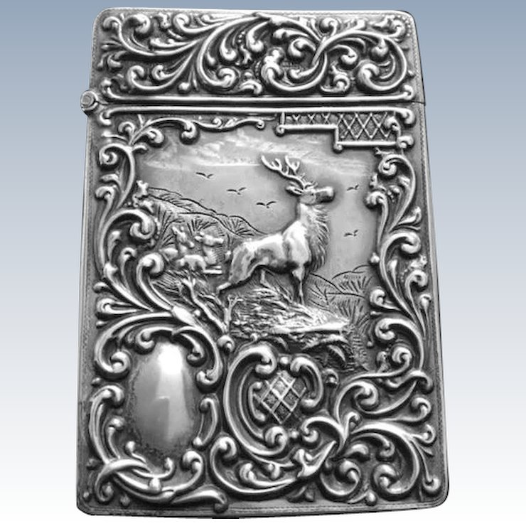 Antique Edwardian Sterling Silver Calling Card Case Stag Fawns ...