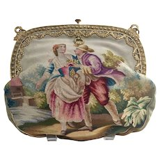 Early 20th Century Figural Tapestry Purse