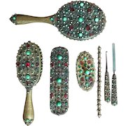 TO BE REMOVED 2-28-18 LAST CHANCE!  7 Piece Austrian Bronze Metal Jeweled Vanity Dresser Set