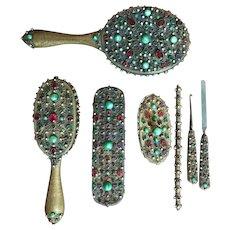 TO BE REMOVED 2-28-18 LAST CHANCE!  7 Piece Austrian Bronze Metal Jeweled Vanity Dresser Set