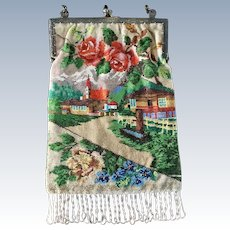 Vintage Alpine Scenic Beaded Purse Snow Capped Mountains