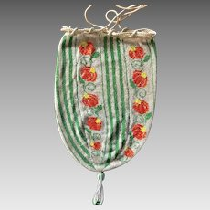 Vintage Beaded Deco Drawstring Purse
