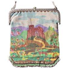 SALE!!  Vintage Beaded FairyTale Castle Purse Germany Deer Purse