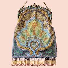 Vintage Jeweled Austrian Frame Beaded Purse Geometric Paisley