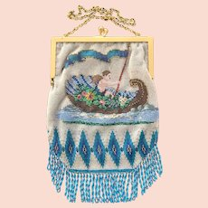 Antique Beaded Cherub Gondola or Cornucopia  Purse