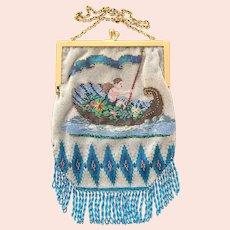 REDUCED! Antique Beaded Cherub Gondola or Cornucopia  Purse