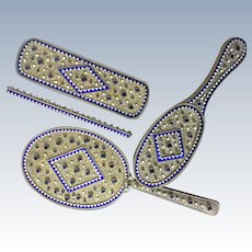 Stunning Austrian Jeweled Enamel 4 Piece Vanity Dresser Set
