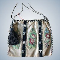 REDUCED! Antique Victorian  Petit Point on Netting  c. 1840 Reticule Purse