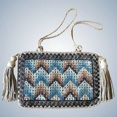 Antique Berlin Woolwork Drawstring Beads Silk Reticule Purse