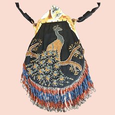 Vintage Hiawatha Celluloid Embroidered Purse Peacock Bag