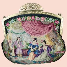 LAST CHANCE! REDUCED! Stunning Vintage Petit Point Purse Two Interior Scenes