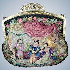REDUCED! Stunning Vintage Petit Point Purse Two Interior Scenes