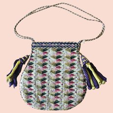 Berlin Woolwork c 1840 Antique Purse Chenille Tassels
