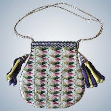 Berlin Woolwork c 1840 Antique Purse Chenille Tassels
