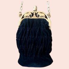 Original  Vintage Celluloid Elephant Frame with Buddha Velvet Flat Bottom Purse