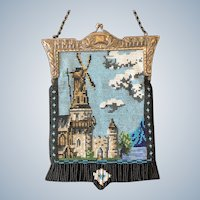 Vintage Beaded Scenic Windmill Purse