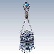TO BE REMOVED 4-20 - Antique Victorian Jeweled Enamel Filigree Victorian Chatelaine Mesh Purse Butterfly