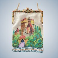 REDUCED! Vintage German Beaded Eltz Castle Purse Jeweled Frame