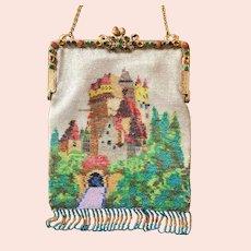 REDUCED! Vintage German Beaded Eltz Castle Purse Jeweled Frame