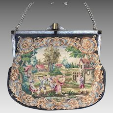 REDUCED!  Vintage Sterling Silver Frame Micro Petit Point Purse