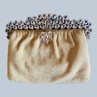 Vintage Hand Beaded French Vintage Purse Crystal Jeweled Frame