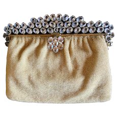 bf612d9313 Vintage Hand Beaded French Vintage Purse Crystal Jeweled Frame