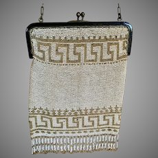 Vintage Beaded Greek Key Design Purse