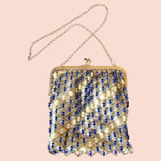 Fantastic Vintage French Beaded Stones on Chain Purse