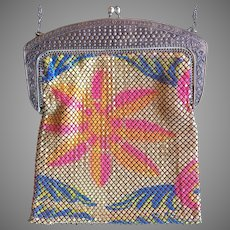 Whiting and Davis Art Deco Painted Mesh Purse Sunburst