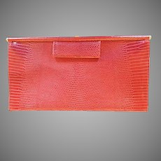 Vintage Donna Karan Italy Genuine Lizard Clutch Purse Red