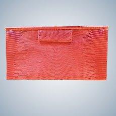 Vintage Donna Karan Italy Genuine Lizard Clutch Purse Red