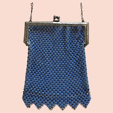 Whiting and Davis Black and Blue Enamel Mesh Purse