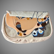 Vintage Patricia Smith Moon Bag Clutch Purse Peacock Design