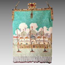 Vintage Venetian Beaded Purse St. Mark's Basilica Enamel Jeweled Frame