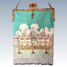 Vintage Venetian Beaded Purse St. Mark's Basilica Enamel Jeweled Frame