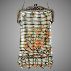 Whiting and Davis Enamel Mesh Purse Tree Design Childs Purse