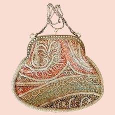 Antique Cut Steel Beaded Paisley Design Purse
