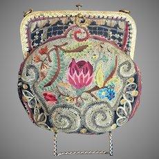 Vintage Embroidered Needlework Colorful Purse