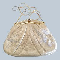 FINAL SALE! Vintage Karung Beige Judith Leiber Handbag Purse