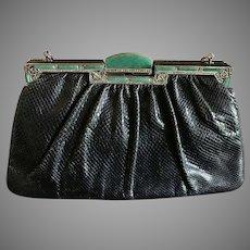 Vintage Judith Leiber Aventurine Green Quartz Black Karung Purse Handbag