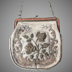 Antique French Coral Beaded Metallic Silk Embroidered Purse