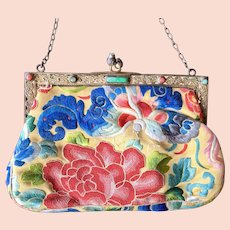Vintage Asian Inspired Silk Stitch Needlework Jeweled Frame Purse